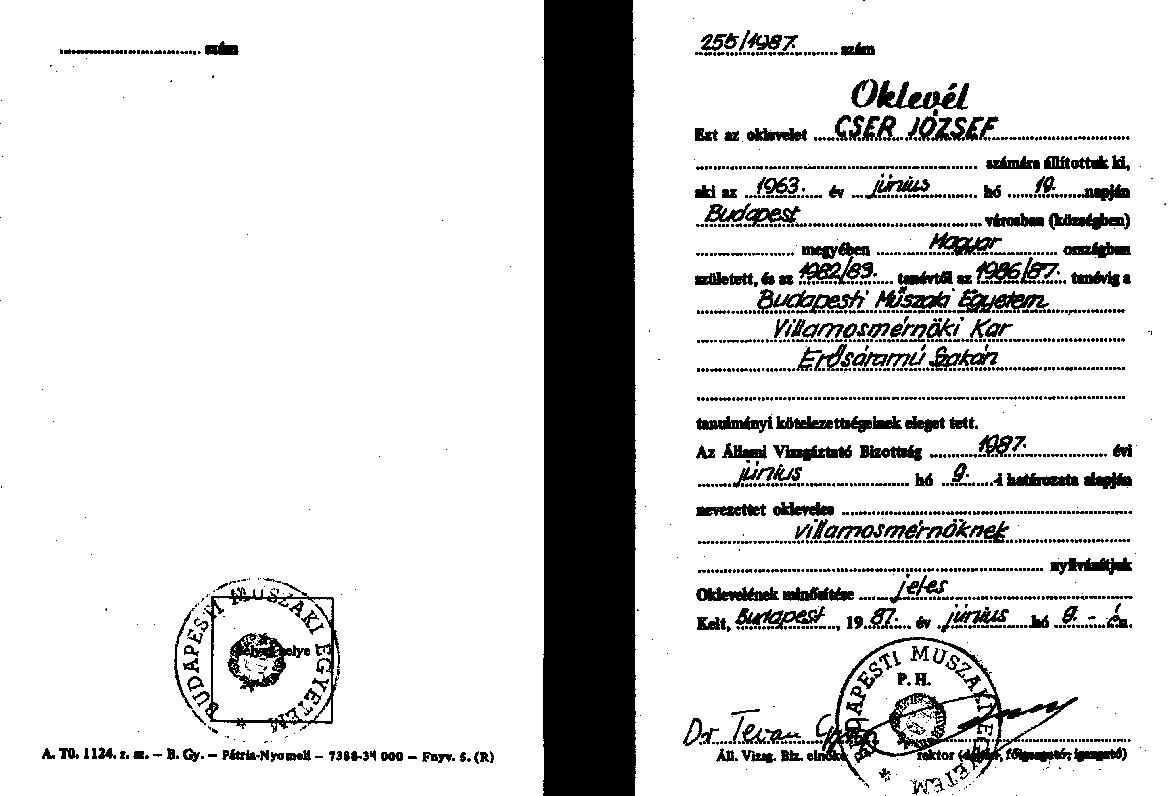 villamosmérnöki diploma jeles minősítéssel