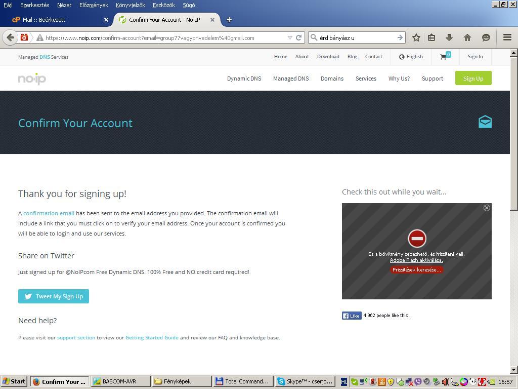 NO-IP regisztráció befejezve