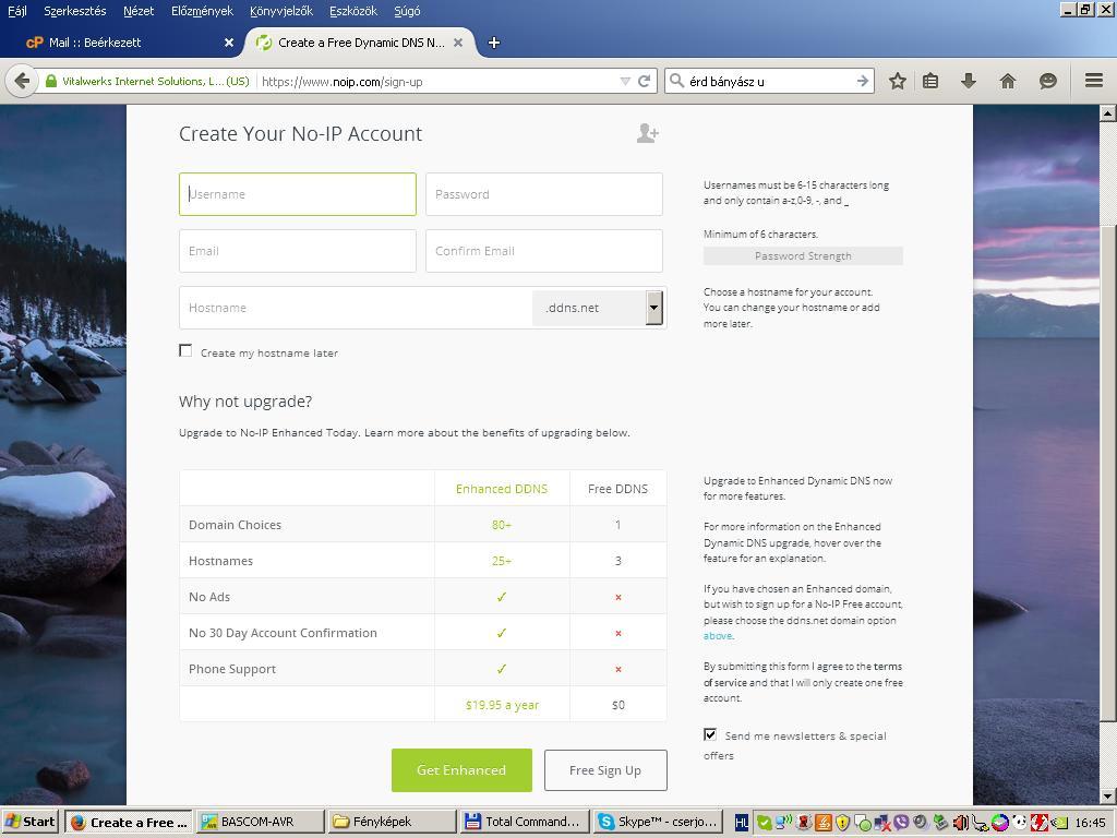 NO-IP regisztráció
