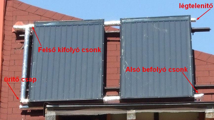 kollektorok egy könnyűszerkezetes tető déli, 45°-os oldalán